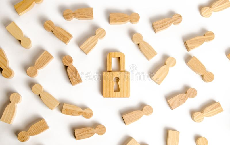 People and padlock on a white background. Safety and alarm system. Security service. Security and safety, collateral, loan. For a mortgage. Confiscation of stock images
