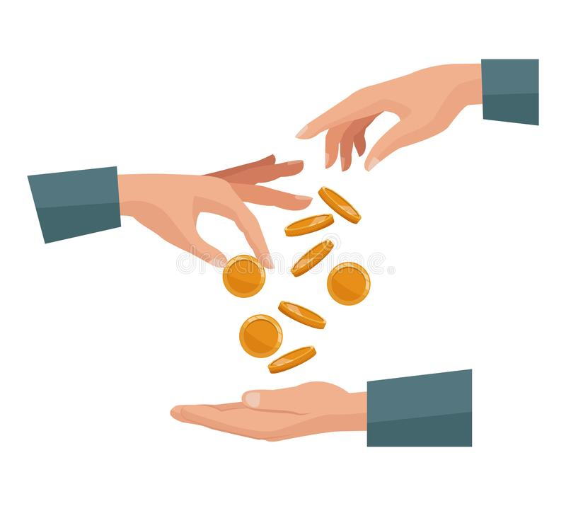 Free People Pair Hands Depositing Coins In A Palm Human Royalty Free Stock Photo - 110795235
