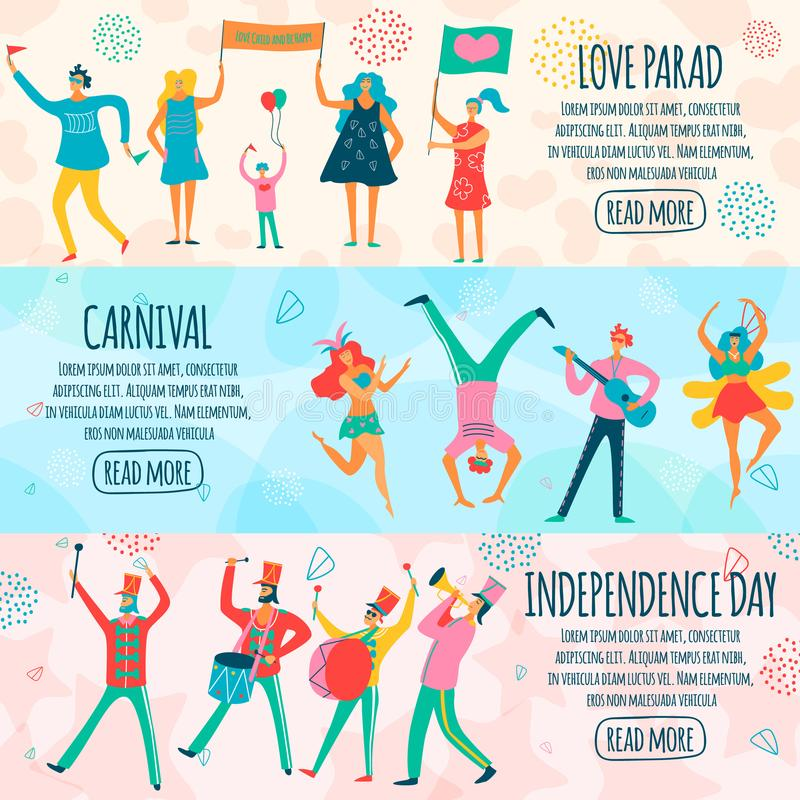 People Parade Horizontal Flat Banners vector illustration