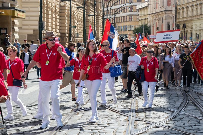 People parading at the Sokol festival in the streets of Prague stock photography