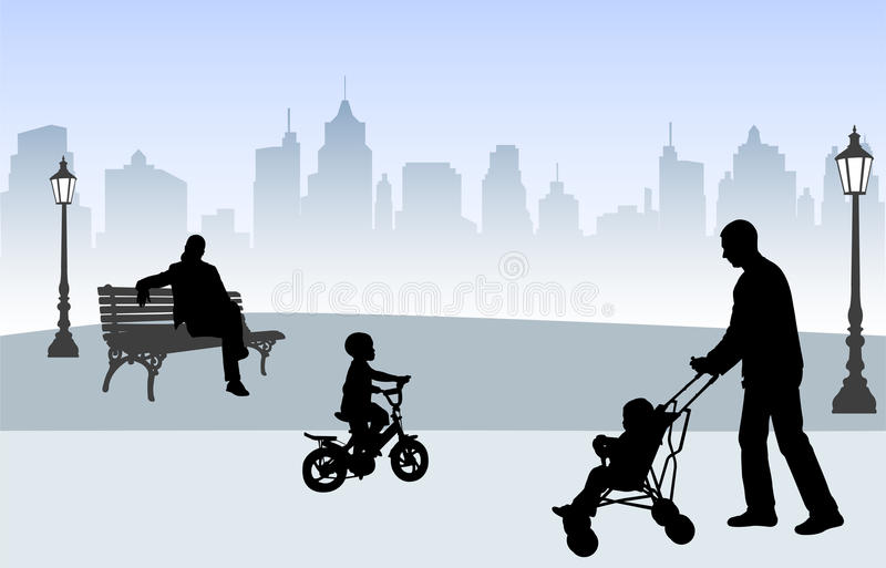 People in the park stock illustration