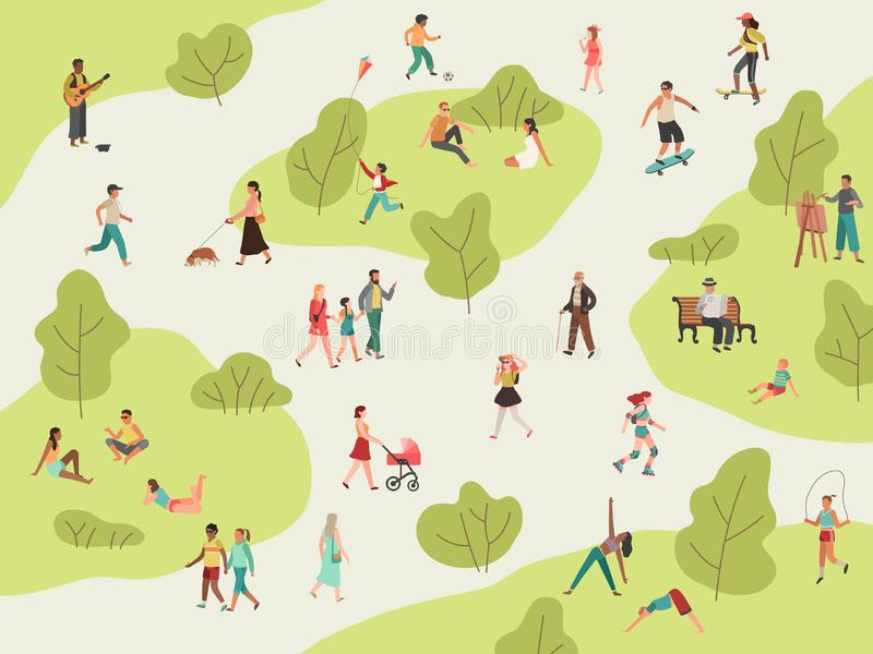 People park. Active walk outdoors woman man girl children picnic sport talking community character leisure lunch in park stock illustration