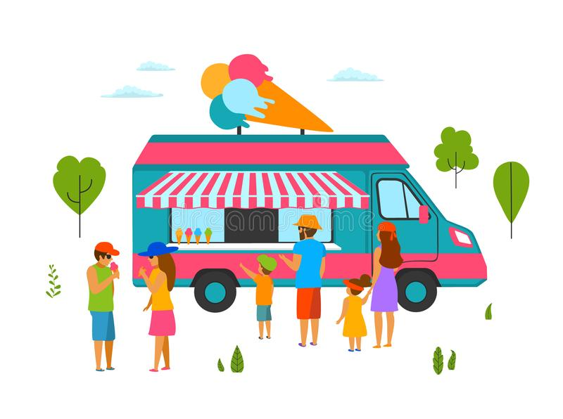 People in the park eating buying ice cream sold in a truck. Scene vector illustration