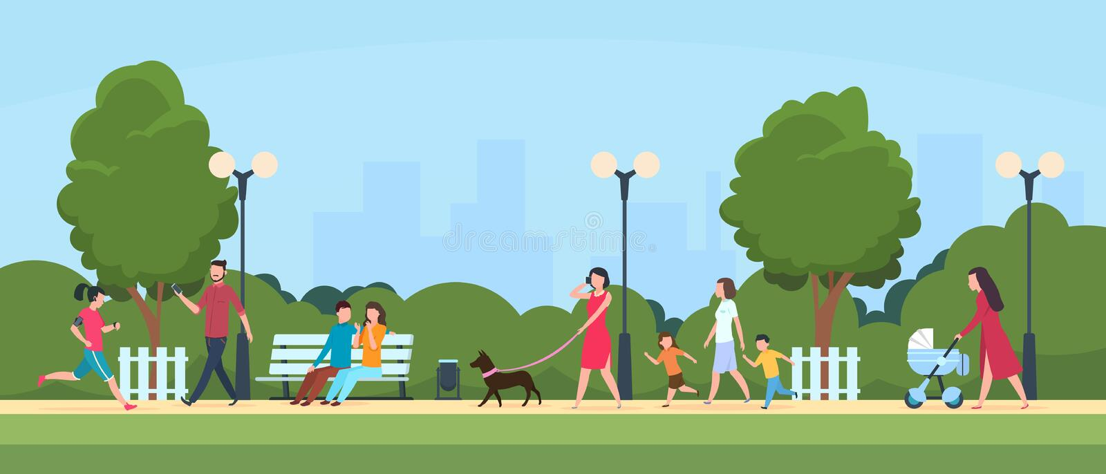 People in park. Persons leisure and sport activities outdoor. Cartoon family and kids characters in summer park vector. People in park. Persons leisure and sport royalty free illustration