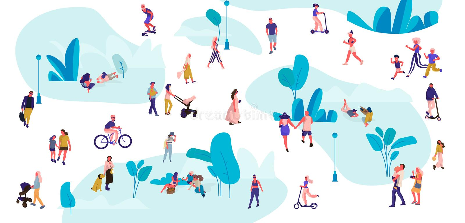 People in park. Trendy crowd walking, men and women on picnic doing yoga and summer exercises. Vector outdoor activities vector illustration