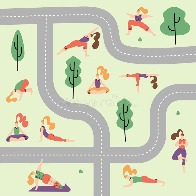 People in the park vector flat illustration. Women walk in the park and do sports, yoga and physical exercises. summer park royalty free illustration