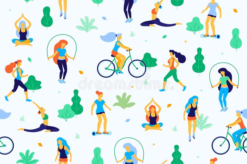 People in the park vector flat illustration. Women walk in the park and do sports, physical exercises. Park seamless vector illustration