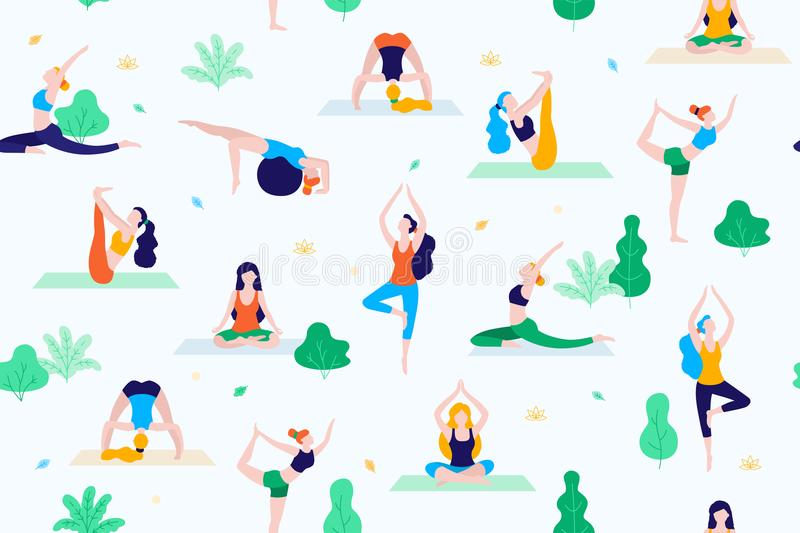People in the park vector flat illustration. Women walk in the park and do sports, yoga and physical exercises. Park royalty free illustration