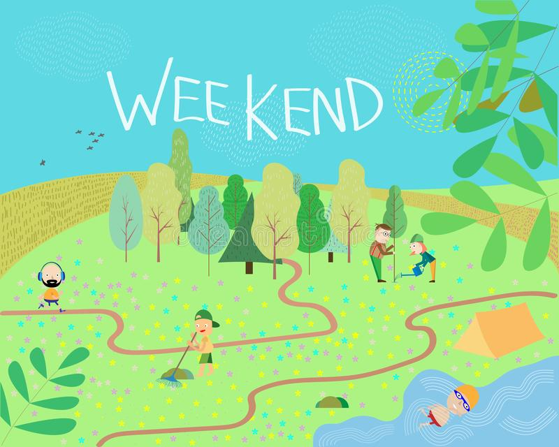 People in the park. Vector illustration of people having a rest on a picnic in nature. Active family weekend in the forest by the. Lake stock photography