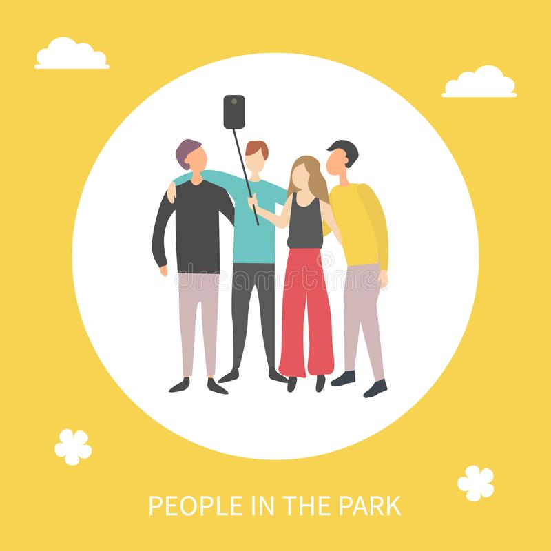 People in Park Taking Selfie Man and Woman Friends stock illustration