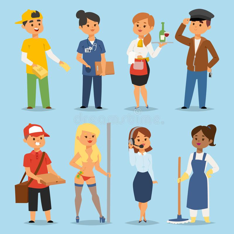 People part-time job professions vector set characters temporary job recruitment concept. Different workers or time stock illustration