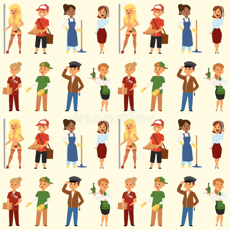 People part-time job professions vector set characters temporary job recruitment concept. Different workers or time royalty free illustration