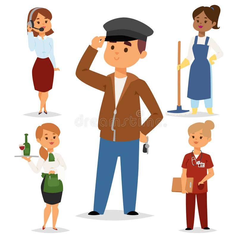 People part-time job professions vector set characters temporary job recruitment concept. Different workers or time. Unemployed. Young career start boys and stock illustration
