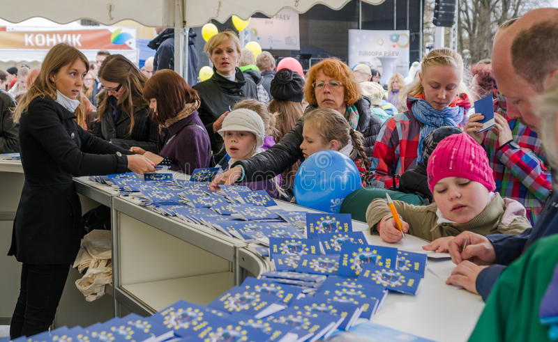 People participate in the information game in Europe Day in Tallinn. stock images