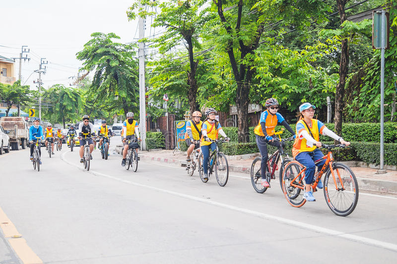 People participate riding for health and environment protection royalty free stock photo