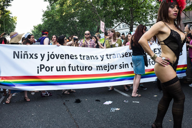 Download People Participating On A Demonstration At The Gay Pride Parade In Madrid Editorial Photography - Image: 32094547