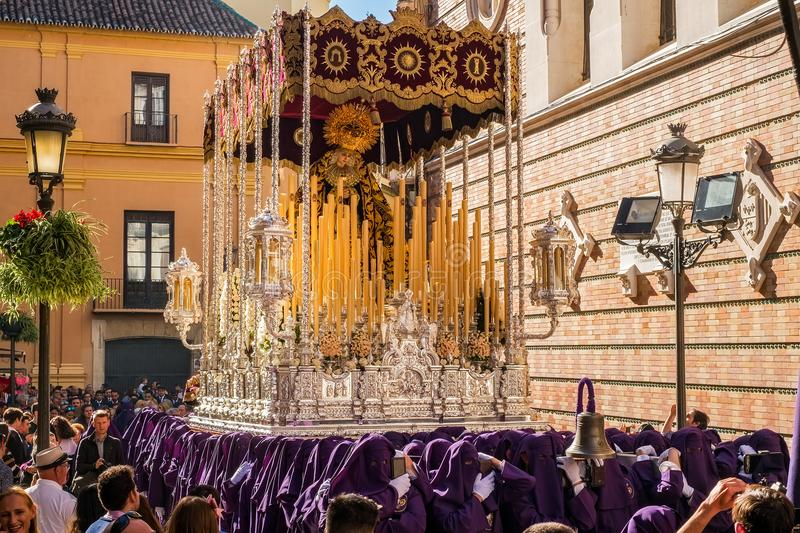 People participating in the Holy Week in a Spanish city royalty free stock photos