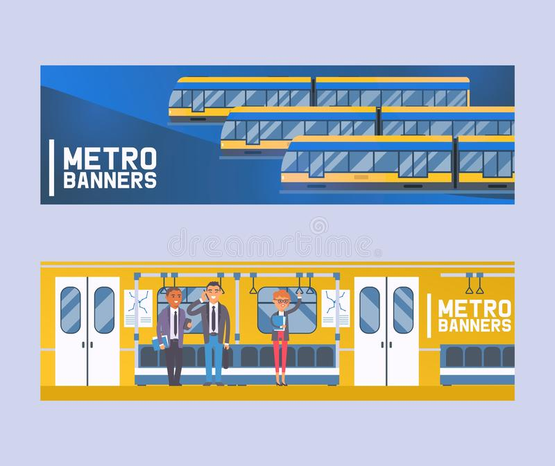 People passangers in subway car, modern city public transport, underground tram set of banners flat vector illustration royalty free illustration