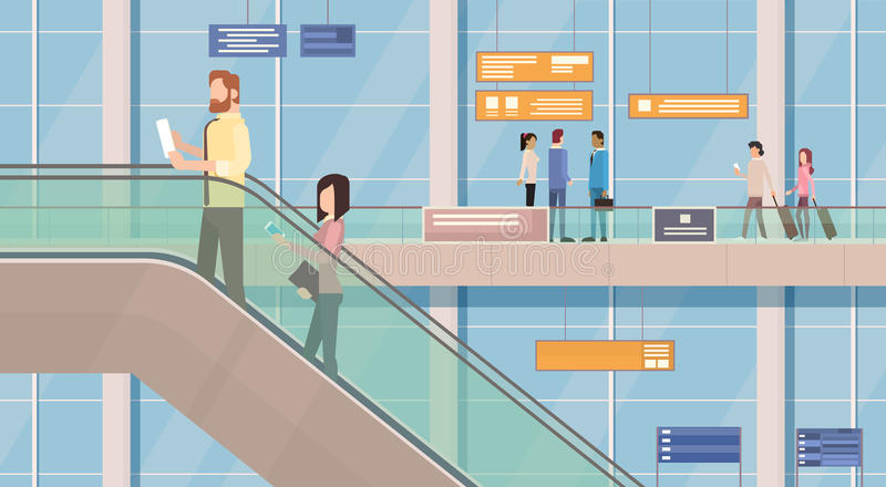 People Passengers Airport Hall Departure Terminal Interior Moving Staircase. Flat Vector Illustration stock illustration