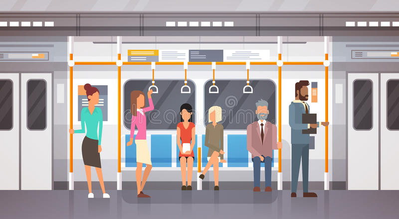 People Passengers In Subway Car Modern City Public Transport, Underground Tram. Flat Vector Illustration vector illustration