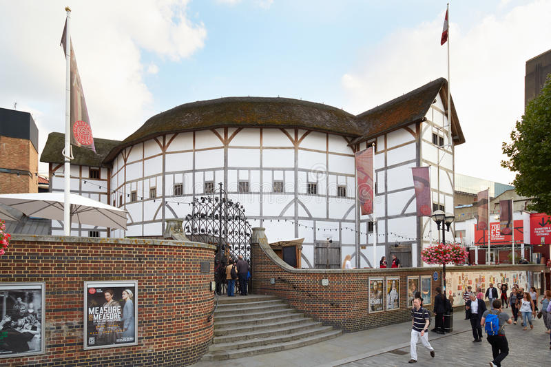 People passing near The Globe Theater in London royalty free stock photos