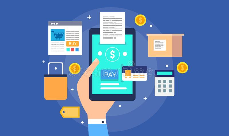 People Paying Money Online Electronic Payment Stock Vector Illustration Of Design Service 128960830