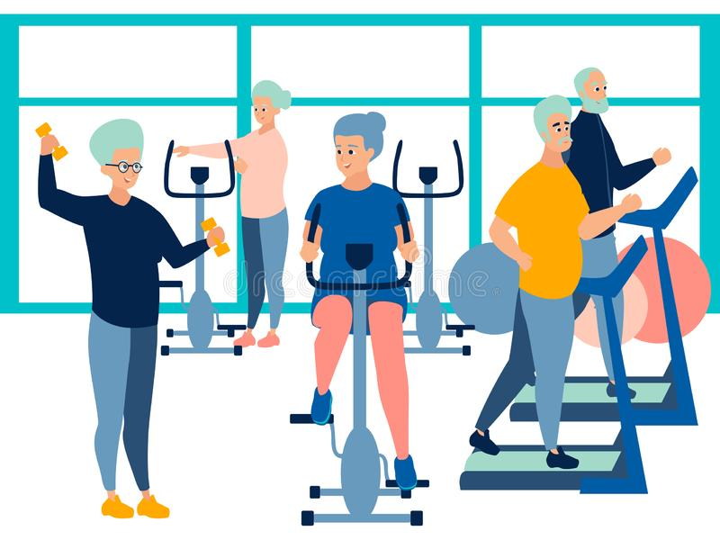 People, pensioner in the gym. training on simulators. In minimalist style Cartoon flat Vector vector illustration