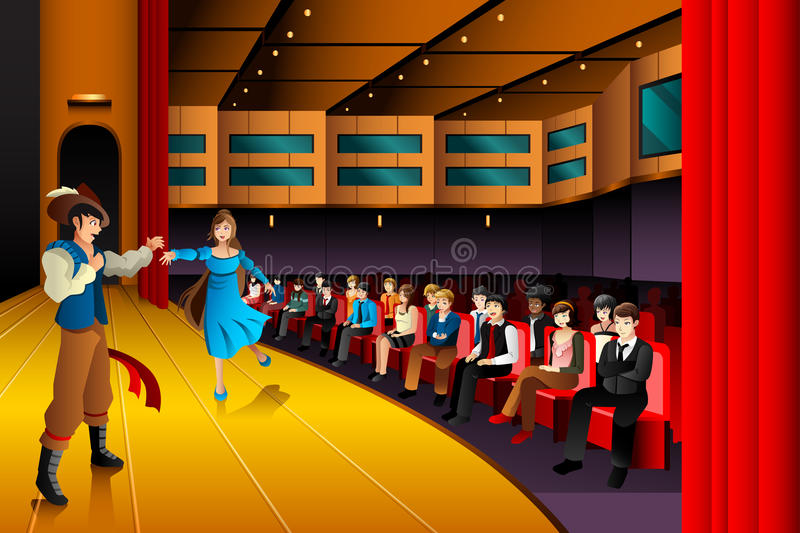 People performing on a stage vector illustration