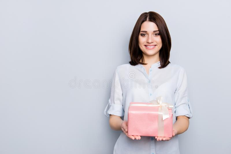 People person delight bliss feelings party concept. Portrait of. Beautiful charming attractive cute tender gentle lovely business lady with present in hands stock photo