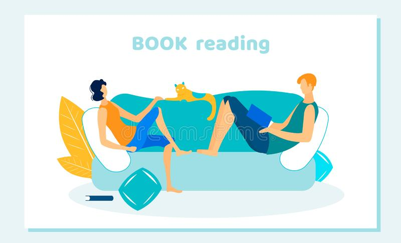 People and Pet Spend Free Time. Home Reading Books. People and Pet Spend Free Time. Couple of Woman and Man Sitting on Sofa at Home Reading Books, Cat Lying on vector illustration