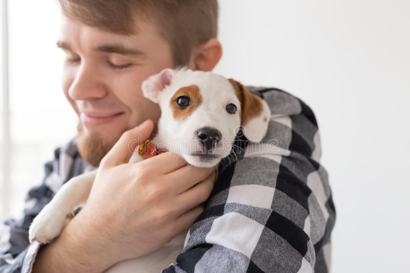 People, pets and animals concept - close up of young man holding jack russell terrier puppy stock image