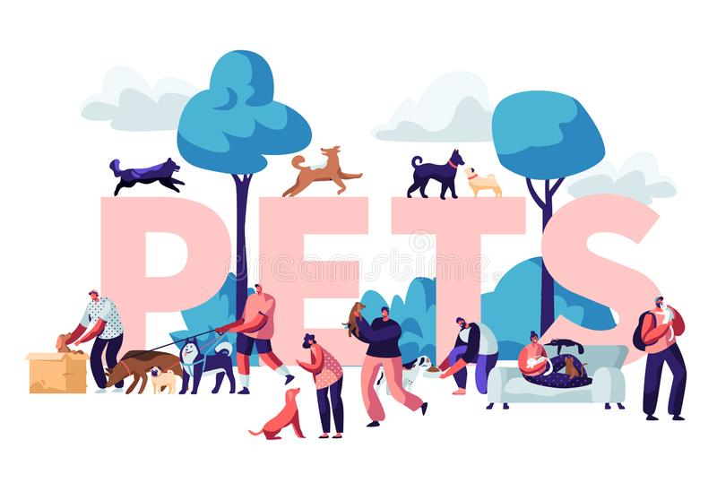 People and Pets Concept. Male and Female Characters Walking with Dogs and Cats Outdoors, Relaxing, Leisure, Love, Care of Animals. Poster, Banner, Flyer royalty free illustration