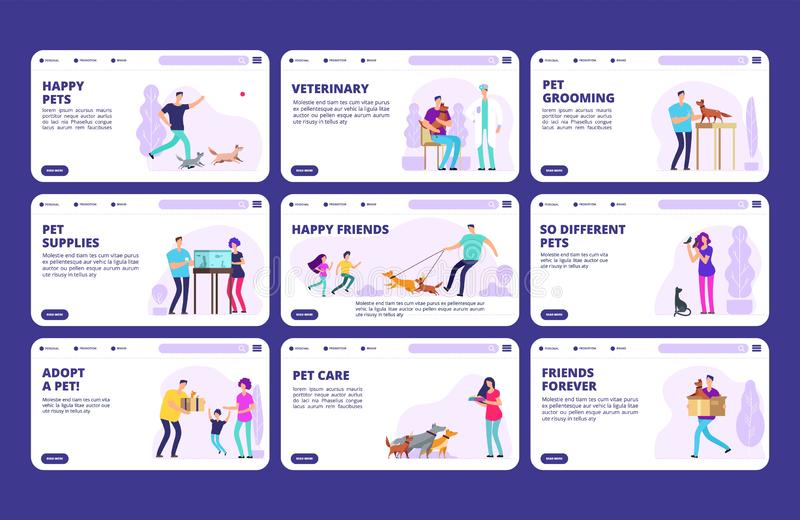 People with pets landing pages template. Vector characters people, dogs, cats, birds royalty free illustration