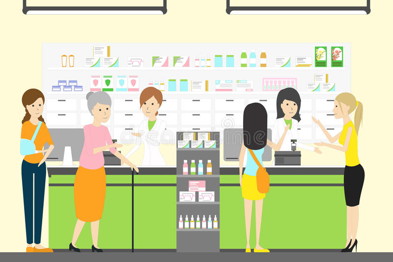 People in pharmacy store. People with different illneses and diseases vector illustration