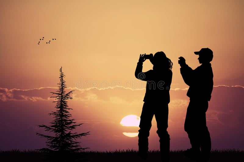 People photographing the sunset with their cell phone. Illustration of people photographing the sunset with their cell phone stock illustration