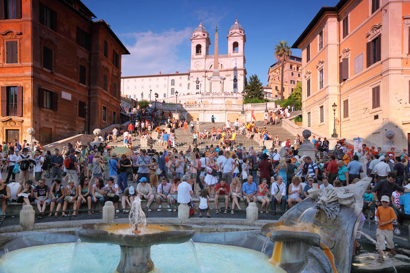 People on the Piazza di Spagna stock photos