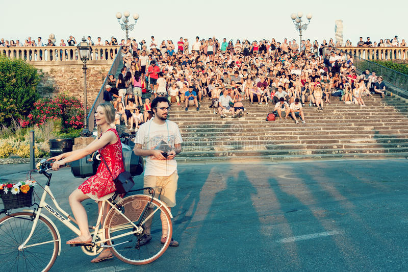People at Piazzale Michelangelo in Florence stock photos