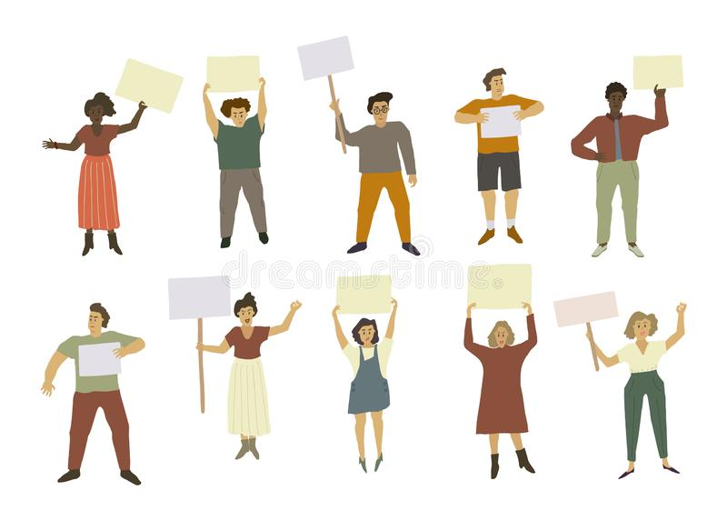 People with picket signs. The strikers held placards. Malcontented men and women vector illustration