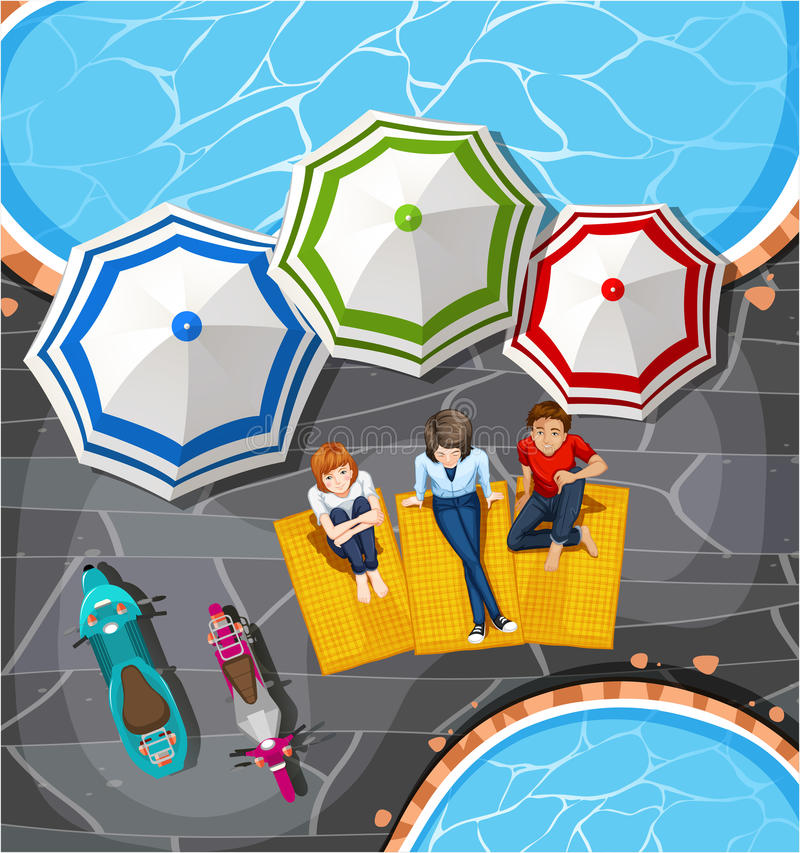 People picnic by the pool stock illustration