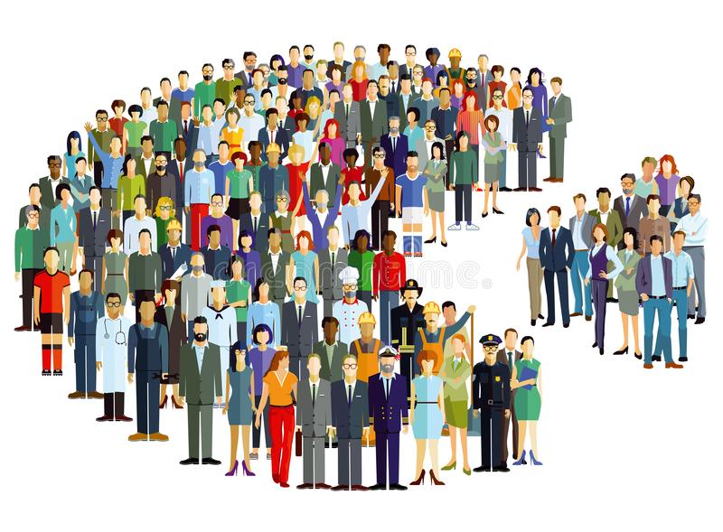 People pie chart statistics illustration. Illustration of people of different backgrounds and careers in the shape of a pie chart with one section removed stock illustration