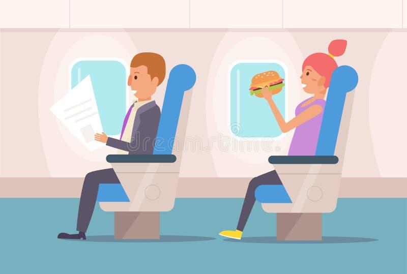 People the plane. Vector. Cartoon Isolated art Flat stock illustration