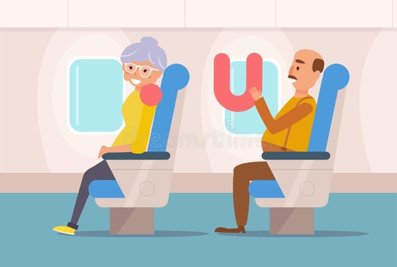 People the plane. Vector. Cartoon. Isolated art Flat stock illustration