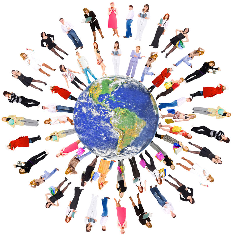 People on the planet earth stock photo