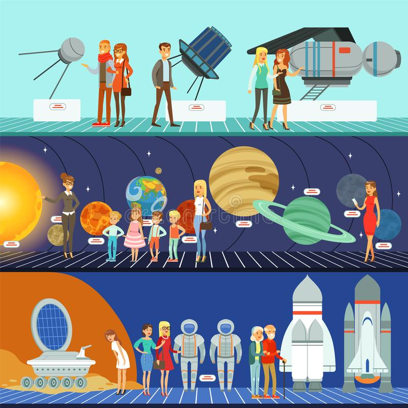 People in the planetarium set, innovation education. Museum, kids on lecture about space galaxy horizontal vector Illustrations stock illustration
