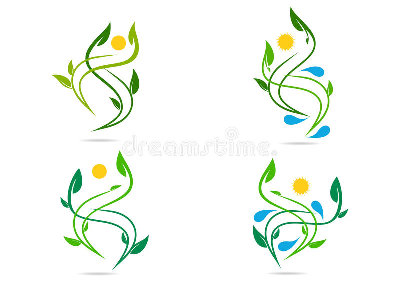 People, plant, water, natural, logo, health, sun, leaf, ecology, symbol icon design vector set. People plant nature water ecology symbol icon set design vector royalty free illustration