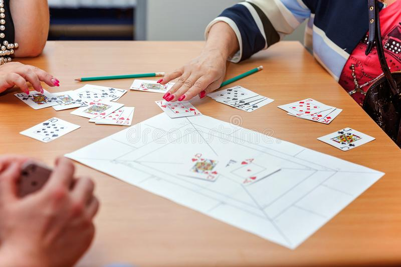 People play cards royalty free stock photo