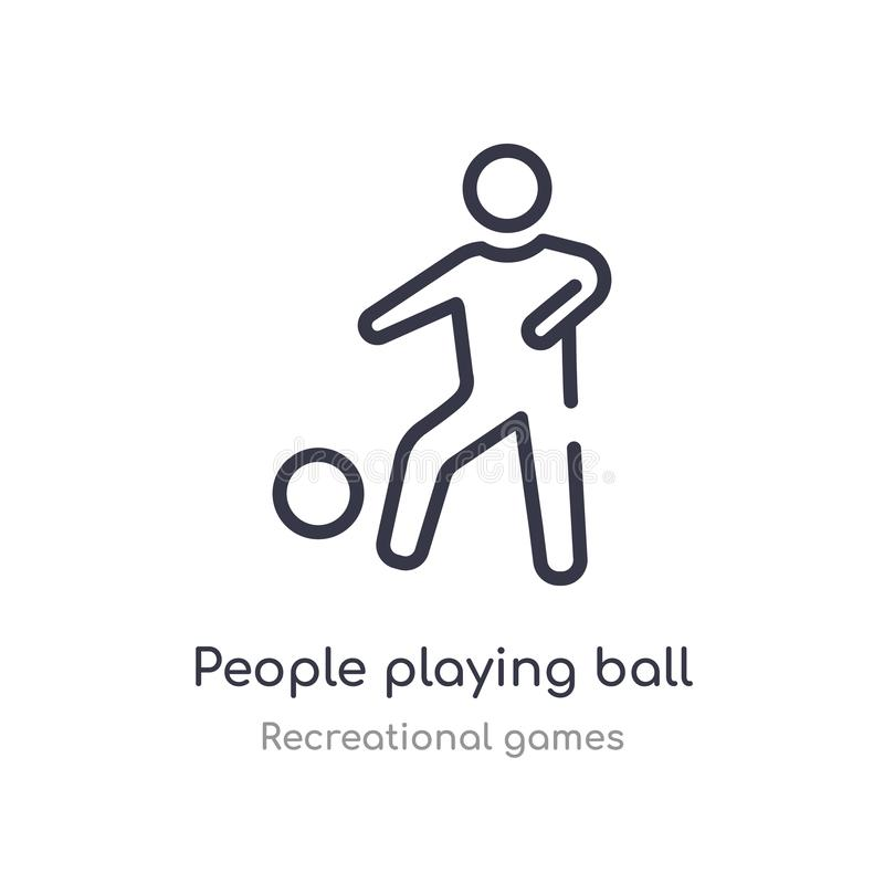 people playing ball outline icon. isolated line vector illustration from recreational games collection. editable thin stroke vector illustration