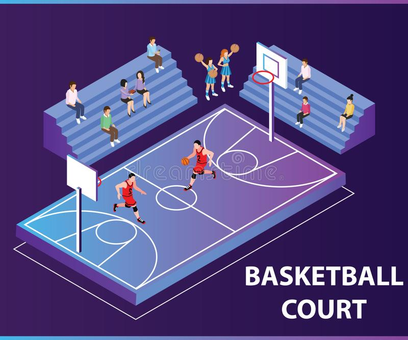 People Playing Basket Ball Game Isometric artwork concept vector illustration