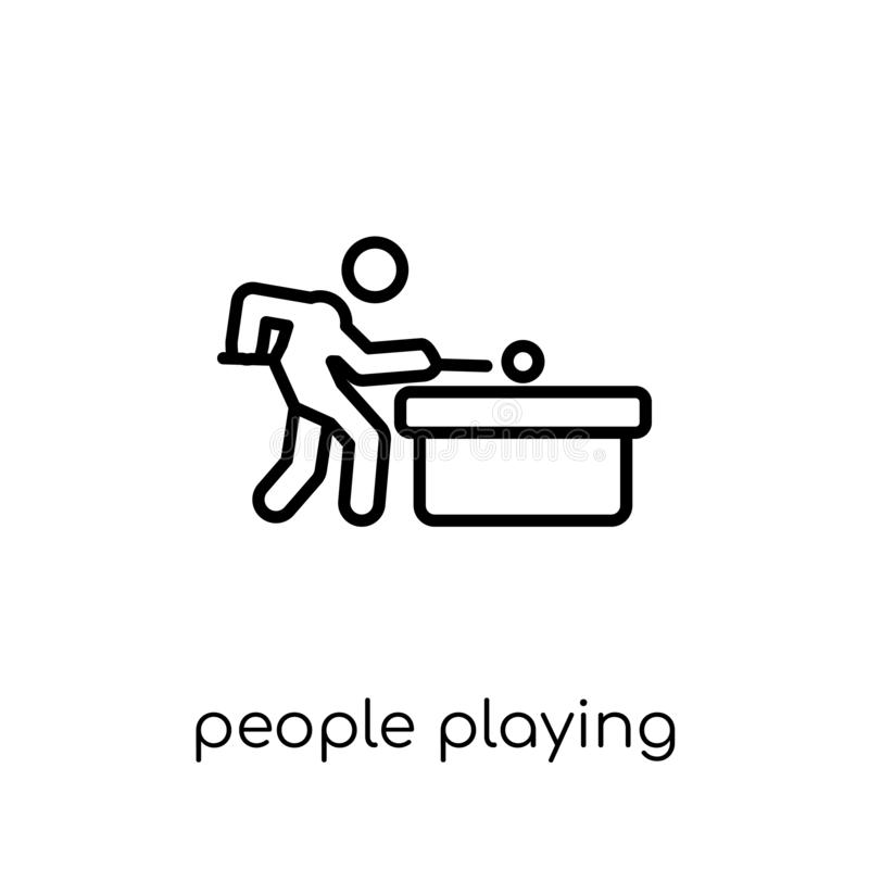 People playing Billiard icon icon. Trendy modern flat linear vec royalty free illustration