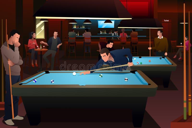 People Playing Billiard royalty free illustration